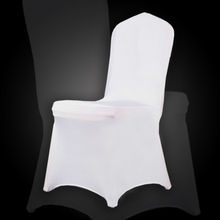 Germany send 100 pcs White Spandex Party Wedding Chair Covers for Weddings White Universal Stretch Polyeste Lycra Chair Cover(China)