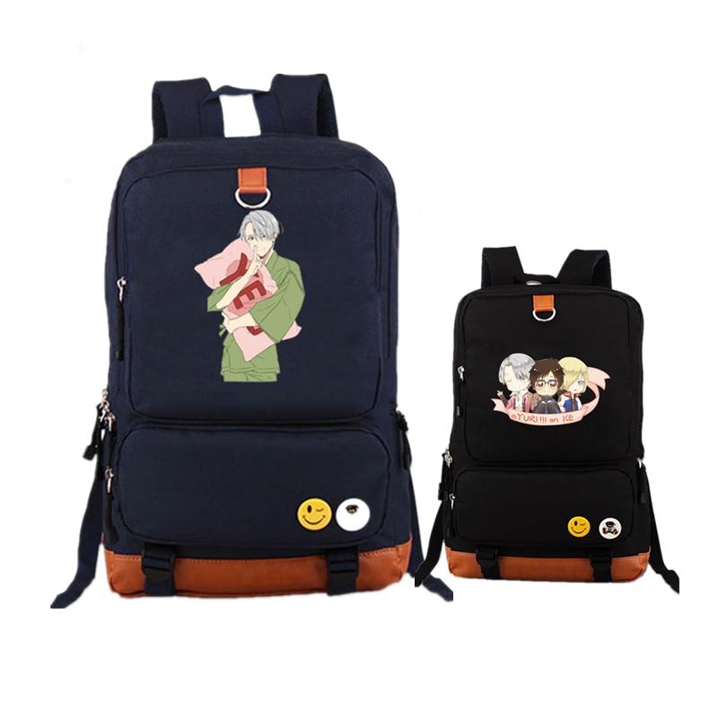 Harajuku Anime YURI on ICE Color Printing Women Backpack Canvas Military Backpack Student Laptop Bags School Rucksacks for Girls<br>