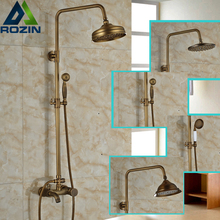"Bathroom Single Handle Bathtub Shower Mixer Faucet Wall Mount 8"" Rainfall Exposed Shower Mixer Antique Brass"