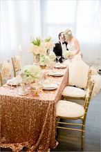 Pure Handmade Wholesale Rose Gold Sequin Tablecloth Rectangular 90x156 inch Sequin Table Cloth for Wedding Sequin Tablecloth(China)
