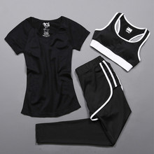 3 PCS Women Sport Set Gym Clothes T Shirt Bra And Long Pant Workout Sports Wear Patchwork Vetement Sport Femme Fitness Yoga Set