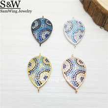 10pcs Factory Wholesale 2017 new pave inlay AAA CZ pear turkish style charm connector for retailer(China)