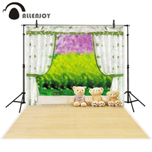 Allenjoy photographic background Curtains fuzzy teddy bear grass backdrops kids wedding digital Send rolled 5x7ft