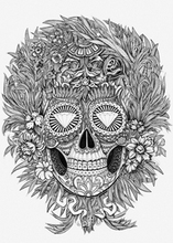 Min.order is $10(mix order)Exclusive Monochrome tattoo style complex diamond Skull Pattern Personalized laptop sticker[Single]