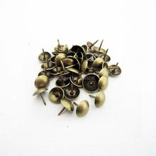 100pc Antique Brass Bronze Upholstery Nail Jewelry Gift Wine Case Box Sofa Decorative Tack Stud Pushpin Doornail Hardware 7x11mm(China)
