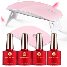 MSAHRE Gel Nail Starter Kit with Led UV Nail Dryer Lamp Soak Off Color Gel No Clean Wipe Top and Base Coat Set Manicure Set Kits