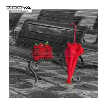 ZOOYA Diamond Embroidery DIY Diamond Painting Red Umbrella &Rose Painting Diamond Painting Cross Stitch Rhinestone Mosaic BJ1557
