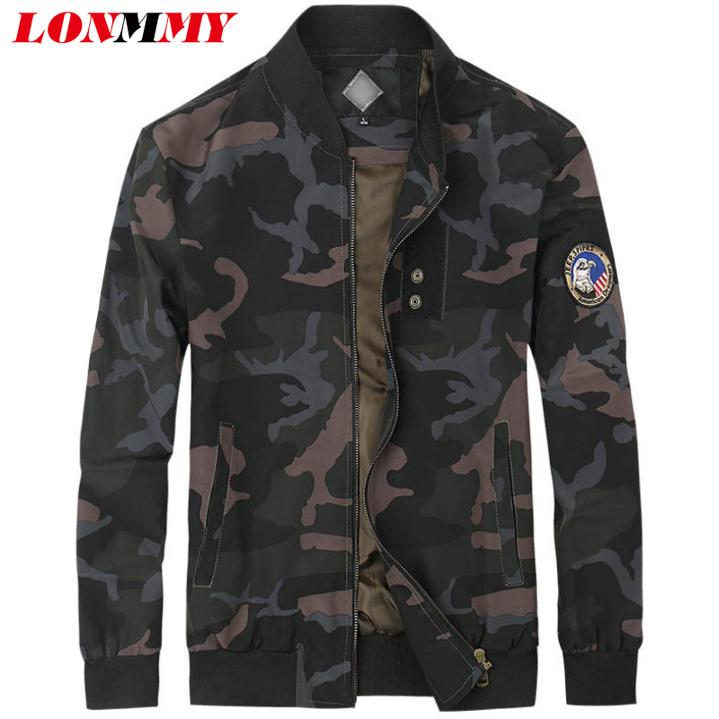 LONMMY Camouflage mens jackets and coats Slim fit Casual Outerwear Coat Bomber jacket men clothes 2018 jaqueta Army green Khaki