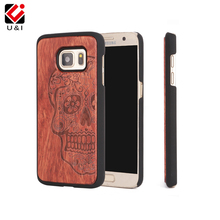 U&I Retro Skull Head,Flower Carving Wood Case for Samsung Galaxy s7 Novetly Wooden Hard Case Cover for samsung galaxy s7 edge