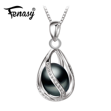 FENASY Promotion Black Pearl Pendant AAAA trendy natural pearl necklace & pendant ,pink pearl necklace for women pearl jewelry(China)