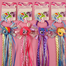 Lovely Cartoon Elastic Hair Ropes with Cute Unicorn Ribbon Hair Tie Kids Girls Rubber Ties Hair Accessories with Wig Decoration(China)