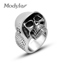 Modyle 316L Stainless Steel Jewelry Personality Hand Made Men Pirate Skull Ring Punk jewelry