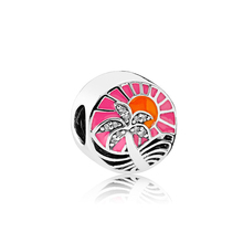 5PCS Beach Style Crystal Coconut Trees Enamel Sun Charms Round Beads Fit DIY Pandora Bracelets&Bangles Making Accesssories Women