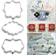 3pcs Plaque Cutter Cookies Frame Cake Oval Square Rectangle Fancy Stainless Mold Q019