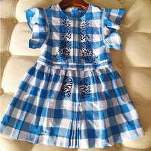 2017 Summer Plaid Pattern Printed Smocking Blue Dress for Baby Girls Party Dress for Girls Fashion Clothes Beach Dresses