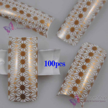 100PCS Beauty Acrylic False Nails Gold White Cute Style French Plastic False Nail Art Tips NEW F450(China)