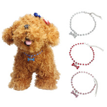 Diamante Bone Rhinestone Pendant dieren benodigdheden Pet Necklace dog charms Collar Dog Jewelry collares rojos