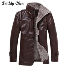 Brand High Quality Winter Leather Jacket Men Coats PU Outerwear Faux Fur Male motorcycle biker warm slim Jacket for mens coat(China)