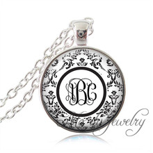 Monogram Initials Glass Pendant Personalized Initial Necklace Custom Name Jewelry Bronze/Silver Chain Monogram Pendant Necklace(China)