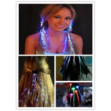 2016 New 5 Colors Flashing Light Braids Led Color Silk Fiber Optic Wire Hairpin For Dance Bar Starlight Strands Illuminating(China)