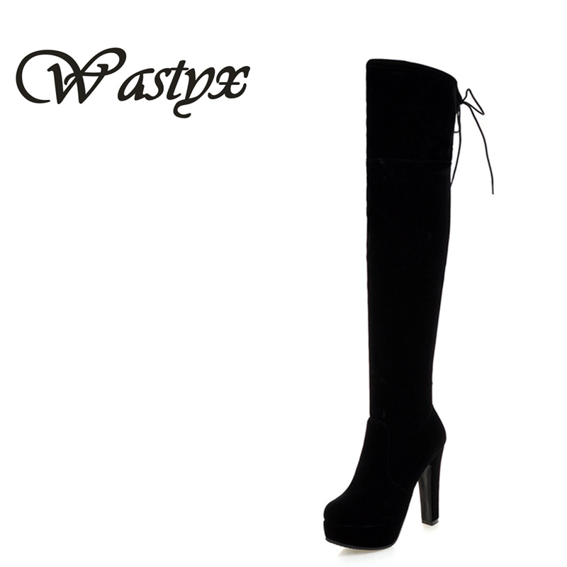 Wastyx Plus size 34-43 new fashion platform over the knee boots thick high heels round toe thigh high winter suede long boots <br>