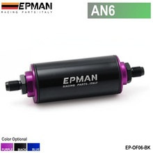 EPMAN -Black Racing Ready Inline Aluminum Fuel Filter AN6 With 100 Micron Element Steel SS EP-OF06-BK