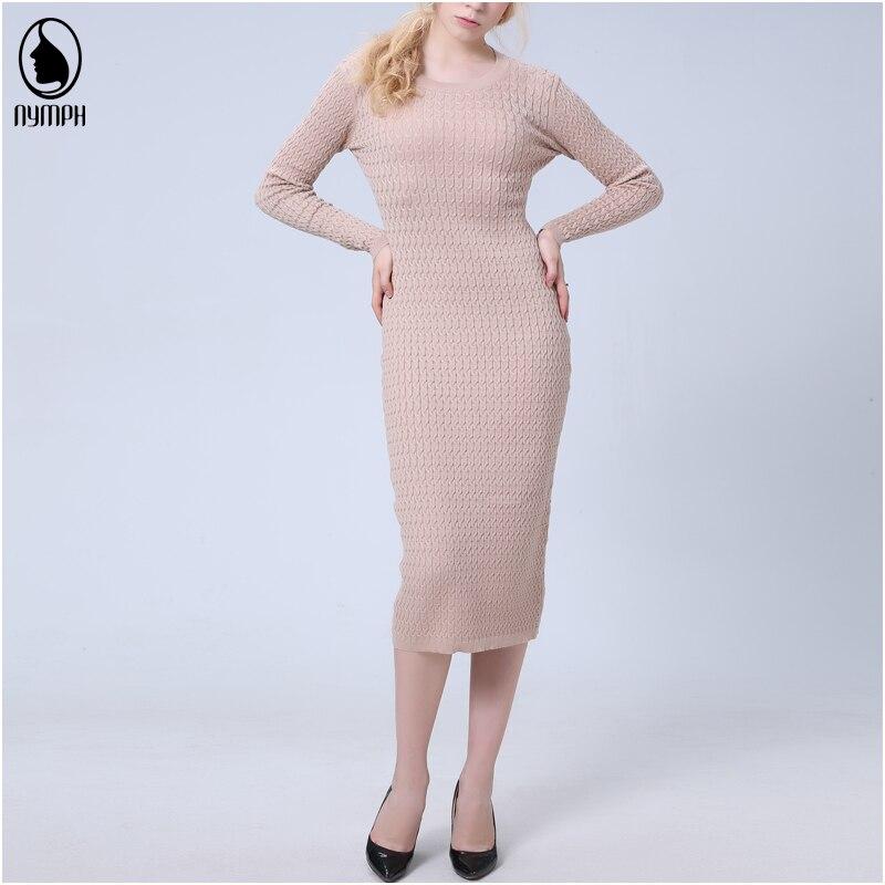 NYMPH 2018 New Women Spring Autumn Dress Full Sleeve O-neck Knitted Dresses Office Lady Slim Sheath Bodycon Dress Female VestidoÎäåæäà è àêñåññóàðû<br><br>