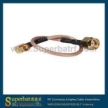 Superbat RP-SMA plug (female) to mc card plug pigtail cable china manufacturer wholesale price RG316 15cm