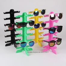 High Quality Colored Sunglass Display Stand Glass Showing Rack Jewelry Holder Eyeglasses Shelf for 6 pairs Sunglasses Display(China)