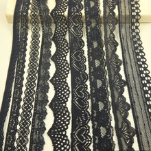10 yards/lot mix width black Elastic Stretch Lace trim  sewing/garment/clothes accesories