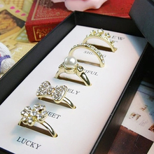 5 Styles Fashion golden Imitation pearl Rings Set Include 5 Pieces Rings For Women  rhinestone bowknot Jewelry Wholesale
