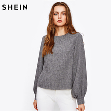 Buy SHEIN Ladies Bishop Sleeve Button Back Blouse Autumn 2017 Casual Womens Blouses Grey Long Sleeve Round Neck Fall Women's Tops for $15.97 in AliExpress store