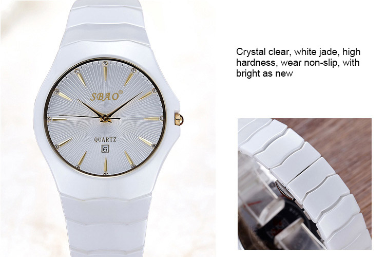 Luxury Ceramic Women Dress Watch Brand SBAO Fashion Casual Charm Lady Quartz Watch 2017 New Simple Design Relogio Masculino