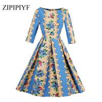 ZIPIPIYF-Autumn-A-line-Dress-Floral-Print-Vestidos-Women-Elegant-2-3-sleeves-Party-Dresses-Pleated.jpg_200x200