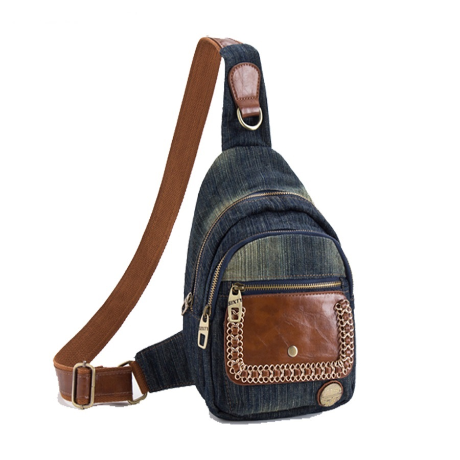 New Vintage Fashion Casual Chains One Shoulder Denim Small Backpacks Bags Jeans Girls Women Daypacks Cross Body Chest Bag<br>