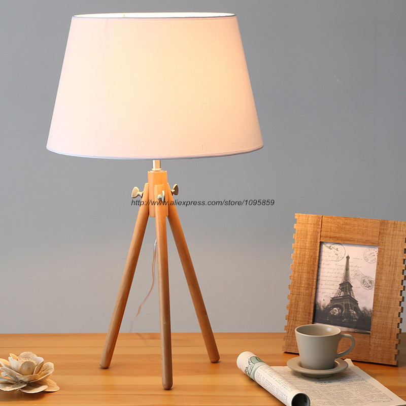 Modern Three Feet Wood Floor Lamps Lights White Dining Room Wooden Desk Reading Lighting<br><br>Aliexpress