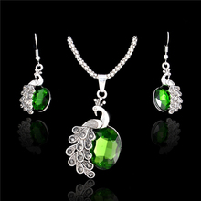 SHUANGR Fashion Peacock Jewelry Sets 4Colors Necklace Sets For Women Jewelry Gold-Color Crystal Unique Design Party Gifts