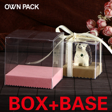 Hot Sale 10pcs/lot clear box with pedestal /festive party supplies wedding candy box cube pvc box gift packaging