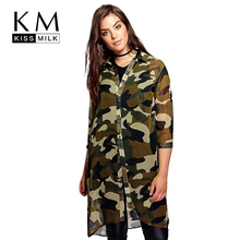 Kissmilk Plus Size Women Chiffon Camo Camouflage Shirt Dress 3/4 Sleeve Boyfriend Longline Shirt Big Size Dress 3XL 4XL 5XL 6XL(China)