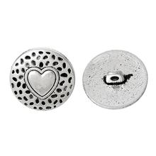 "DoreenBeads Zinc metal alloy Shank Button Metal Button Round Antique Silver Single Hole Heart 18.0mm( 6/8"") Dia, 2 PCs(China)"
