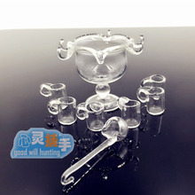 1 : 12 Dollhouse Miniature Cocktails Punch Bowl with 6 Wine Cups Play Doll House Toys Accessories