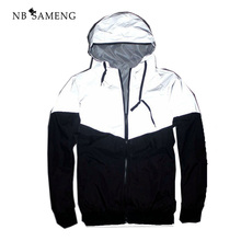 2017 Summer Hip Hop New Brand 3m Reflective Jacket Men&Women Fashion Reflectives Windbreaker Hooded S-XXL NSWT121