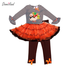 2016 Fashion brand Spring Baby party Girls Boutique Outfits Thanksgiving 2Pcs Turkey tutu dress Stripe Ruffle Pants Suits(China)