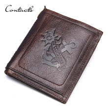 CONTACT'S Brand Wallet Casual Anchor Printed Design Genuine Leather Men Wallets With Card Holder and Coin Pocket For Male(China)