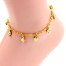 fashion top quality gold vacuum color, star style pure shiny crystal, stainless steel bracelet and bangle anklet
