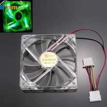 Good Sale Green Quad 4-LED Light Neon Clear 120mm PC Computer Case Cooling Fan Mod Free shipping May 31