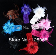Free Shipping!2016 New 18pcs/lot rose flower with feather and Crochet headband,Girls Feather Headband Knitting Hair Weave(China)