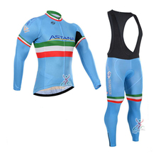 Autumn Winter ASTANA pants bike style sport Breathable Cycling Jersey Warm Racing pro team mens long sleeve jersey