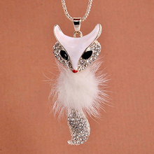 Fashion  Fox Pattern Pendant Rhinestone Inlaid Fur Necklace Long Sweater Chain For Girls