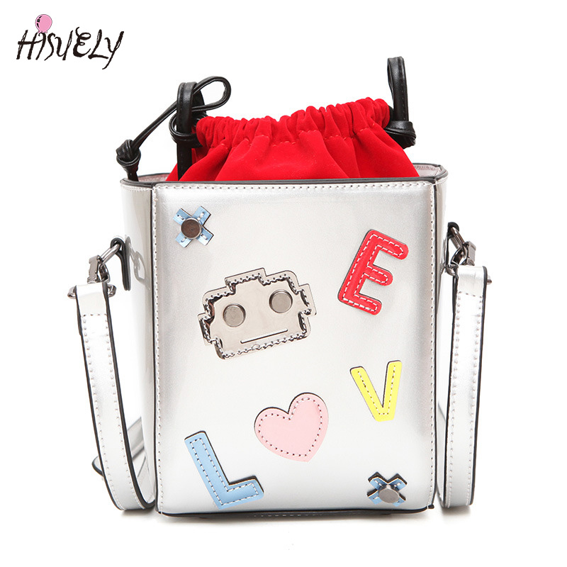 New Fashion Embossing Robot Women PU Leather HandBags Ladies Love Shoulder Bag Cartoon Women Messenger Bags Chain High Quality<br>